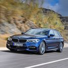 Download wallpapers BMW 5 series Touring, M Sport, G31, 2018, 530d xDrive, exterior, front view, new blue station wagon, blue M5, German cars, BMW besthqwallpapers.com