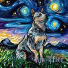 Blue Heeler Starry Night  Australian Cattle Dog Art CANVAS | Etsy