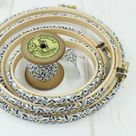 Grey and Mustard, Fabric Wrapped Embroidery Hoops. Floridan Print - 8 inch / with glue
