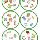 Spiele im Deutschunterricht Dobble   Möbel 31 Karten / 6 Symbole