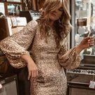 BestDealFriday Apricot Puffy Sleeve Sequin Prom Mini Dress P1480987, Apricot-(US 4-6)S