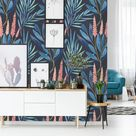 Removable Wallpaper Self Adhesive Wallpaper Cattails and Blue Leaves Peel & Stick Wallpaper