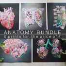 You Choose 5 Print Bundle - Anatomical Art Prints - Human Body - Medical Art
