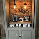 SOLD! Farmhouse custom armoire coffee bar, beverage station, rustic coffee cabinet, wine bar, armoire bar, craft bar, craft cabinet