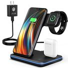 Wireless Charging Station, 2020 Upgraded Saferell 3 in 1 Wireless Charger Stand with Breathing Indicator Compatible with iPhone 11 Pro/XS/XR/8, Samsung, Watch 6/SE/5/4/3 & AirPods - Default