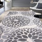 Floral Gray/Grey Off-white Area Rug - Rug 5'x7'