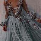 Princess Scoop Floral Appliques Long Puffy Sleeves Prom Dress S26368 - Choose your size here / Red