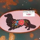Dachshund modern cross stitch silhouette wiener dog floral   Etsy