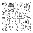 July Coloring Page • FREE Printable eBook