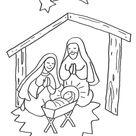 Kostenlose Malvorlage Weihnachten: Jesus Geburt im Stall zum Ausmalen