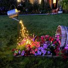 Solar 10 Strands 200 LEDs String Fairy Lights, Waterproof Watering Can Light, Solar Powered Firefly Moon Plants Tree Vines