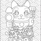 Maneki Neko babies - Japan Coloring Pages for Adults - Just Color