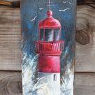 lighthouse-red.jpg (Gemälde), 51x17x2 cm von corinn … – # 51x17x2 #cm #corenn… - Pallet Ideas