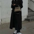 Oversized black coat winter outfit