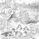 Ducks on a Walk - Printable Adult Coloring Page from Favoreads (Coloring book pages for adults and kids, Coloring sheets, Colouring designs)