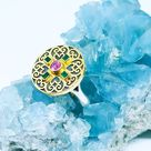 Pink Gem Ring with Sapphire and Emerald, 22k Gold with 950 Silver Designer Ring