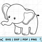 Cute Baby Elephant SVG PNG DXF pdf.  Cricut cut files, Silhouette. Baby Elephant coloring page svg.