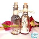 Message Bottle Favor by Invitation In A Bottle ™ - Thank You or Place Card  or Save the Date for Wedding, Beach Party, Destination