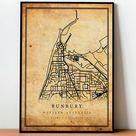 Bunbury Vintage Map Poster Wall Art | City Artwork Print | Antique, rustic, old style Home Decor | Western Australia prints gift | M433