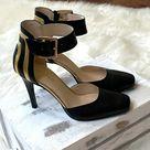 Nine West Legna Black & Gold Square Toed  Heels
