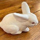 Vintage White Flocked Bunny Rabbit Bank Pink Eyes