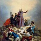 Joseph Félon, 1848   Archbishop Affre on the barricade, Faubourg Saint Antoine, current 11th and 12th arrondissements, June 26, 1848.   fine art print   Canvas print / 50x70cm   20x28