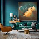 Dark Teal Wall Art Cloud Painting Print Minimalist Canvas | Etsy