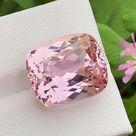 Cameo Pink Kunzite var Spoduemene Cut Stone For Jewelry, 20 Carat, Perfect Cushion Cut, Loupe Clean Kunzite Gemstone, 17x14x11 MM