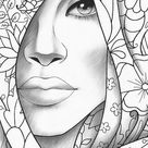 Printable coloring page girl portrait and clothes colouring sheet floral pdf adult anti stress relaxing zentangle line art