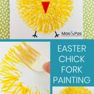 Easter chick fork painting   Easter Kids Crafts   Mas & Pas