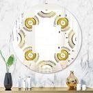 Designart 'Circular Golden Pattern I' Modern Round or Oval Wall Mirror - Quatrefoil (31.5 in. wide x 31.5 in. high), DESIGN ART