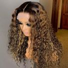 Ombre Black Roots Warm Chocolate Brown Body Wave Lace Frontal Wig