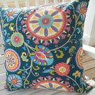 CLEARANCE Modern Ikat Outdoor Pillow Cover Patio Porch Decorative Accent Pillow Contemporary Medallion Cushion Floral Navy Blue Yellow Coral