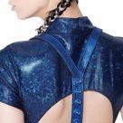 Leather Vertebrae Harness - Metallic Blue / Silver