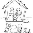 Kostenlose Malvorlage Weihnachten: Krippe im Schnee zum Ausmalen zum Ausmalen
