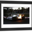 action engine turbo F1 Formula 1. Framed Photo. 1983 Canadian Grand Prix  <br>  Montreal, Canada. 10 12 June 1983.  <br>  Exhaust flame from Nelson P.