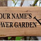 Personalised Flower Garden Sign Veg Patch Allotment Plot Watering-Can Sign House Name Plaque Solid Wood Porch Conservatory Wooden  New