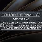 Python Tutorial 88 : Add and Delete data into Dictionaries | pop() | popitem() | update() Methods