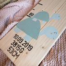Schildkröten Messlatte aus Holz für Kinder - mit Geburtsdaten weiß lasiert / Typ 2