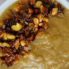 Crema de puerros y patata con frutos secos tostados   Tasty details