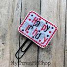 Happy Birthday Planner Clip, Birthday Feltie Clip Birthday Paperclip Bookmark, Planner Gift Planner