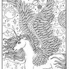Digital Coloring Book Unicorn Dreams, Magical, Fantasy, Unicorns, Pegasus, Adult Coloring, digi stamps, instant download, fun coloring