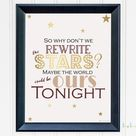 Rewrite The Stars Printable Wall Art   The Greatest Showman Song Lyric Print   Movie Poster  Musical Party Sign  Inspirational Romantic Gift