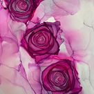 Hot pink alcohol ink roses