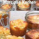 Im Glas gebackene Rhabarber Marzipan Küchlein