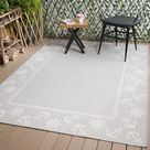 Beverly Rug Waikiki Collection Indoor/Outdoor Helm and Anchor Border Area Rug - Grey / White - WKK20812 (6'7