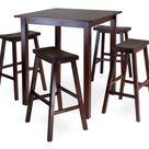Transitional Parkland 5Pc Square High/Pub Table Set with 4 Saddle Seat Stools