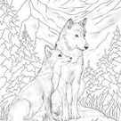 Wolf and Fox - Printable Adult Coloring Page from Favoreads (Coloring book pages for adults and kids, Coloring sheets, Colouring designs)