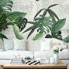 Southeast Asian Rainforest Plant Wall Murals Wall Decor, Green Leaves Shrub Wallpaper Wall Mural, Tropical Landscape Wallpaper