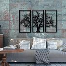 3 Pieces Palm Tree Metal Wall Art, Christmas gifts, Modern Rustic Wall Decor, Living Room Home Decor, New Home Gift, Black Metal Wall Art